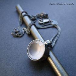 srebro,kwarc,różany,surowy,pastelowy - Naszyjniki - Biżuteria