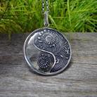 Wisiory srebrny,oksydowany,yin yang,zen,boho,żywica