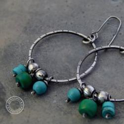 srebro,boho,turkus,hippie,koła, - Kolczyki - Biżuteria