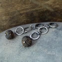srebro,bursztyn,łańcuch,surowe - Kolczyki - Biżuteria