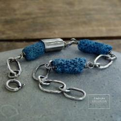 srebro,koral niebieski,surowa,oksydowana, - Bransoletki - Biżuteria