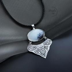 srebrny,naszyjnik,zopalem dendrytowym - Naszyjniki - Biżuteria