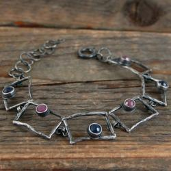 szafiry rubiny srebrna bransoleta - Bransoletki - Biżuteria