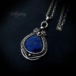 Srebrny wisior z lapisem lazuli,wire-wrapping - Wisiory - Biżuteria