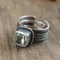 srebrny pierścionek z prasiolitem - Pierścionki - Biżuteria
