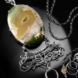 srebrny,naszyjnik,wire-wrapping,agat,żółty,zielony - Naszyjniki - Biżuteria