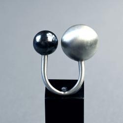 pierścionek geometryczny,surowa forma,kule - Pierścionki - Biżuteria
