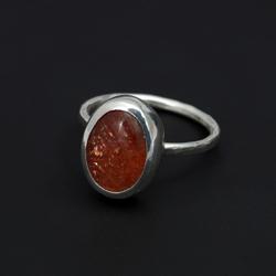 kamień słoneczny,pierścionek,srebrny,delikatny - Pierścionki - Biżuteria