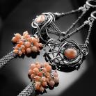 Kolczyki srebrne,kolczyki,wire-wrapping,różowy,koral,ciba