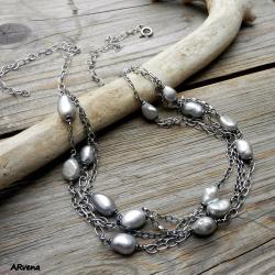 delikatny,elegancki,nowoczesny,srebrny,perły - Naszyjniki - Biżuteria