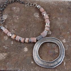 naszyjnik ze srebra i kamieni słoneczych - Naszyjniki - Biżuteria