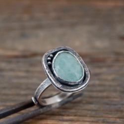 srebrny pierścionek z akwamarynem - Pierścionki - Biżuteria