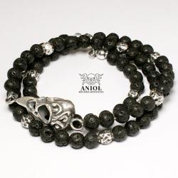 bransoleta,czaszka ptaka,koraliki - Bransoletki - Biżuteria