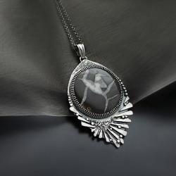 wisior,srebrny,z kamieniem smoczym - Wisiory - Biżuteria