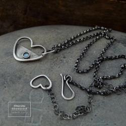 srebro,serce,labradoryt - Naszyjniki - Biżuteria