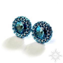 okrągłe,niebieskie,bermuda,kryształowe,drobne, - Kolczyki - Biżuteria