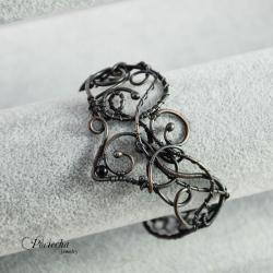 bransoletka,miedź,onyks,wire wrapping,retro,fantas - Bransoletki - Biżuteria