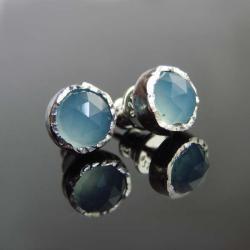 srebro,agat,kolczyki,sztyfty - Kolczyki - Biżuteria