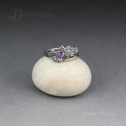 klasyczny,ażurowy,kwiaty,fiolet,natura - Pierścionki - Biżuteria