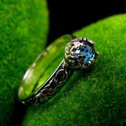 Nehesi,pierścień,srebrny,elfy,topaz,london - Pierścionki - Biżuteria