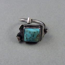 srebro,pierścień,turkus,obwód regulowany - Pierścionki - Biżuteria