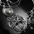 Naszyjniki srebrny,naszyjnik,wire-wrapping,kwarc,turmalin