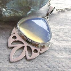 Naszyjnik srebrny,opalit,ażurowy - Naszyjniki - Biżuteria
