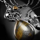 Naszyjniki srebrny,naszyjnik,wire-wrapping,tygrysie oko,ciba