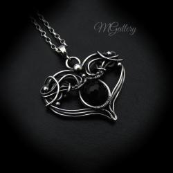 Wisior serce z czarym onyksem,wire wrapping - Wisiory - Biżuteria