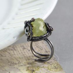 pierścionek,miedź,frenit,kryształ,duży,natura - Pierścionki - Biżuteria