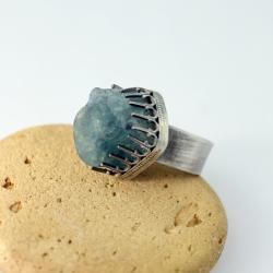 fluoryt,rycerski,surowy kamień - Pierścionki - Biżuteria