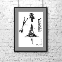 grafika,rysunek,kobieta,wnętrze,dom,czarny, - Ilustracje, rysunki, fotografia - Wyposażenie wnętrz