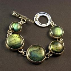 srebrna bransoletka z labradorytem - Bransoletki - Biżuteria