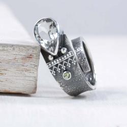 Srebrny pierścionek z zielonym ametystem - Pierścionki - Biżuteria