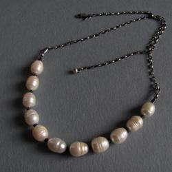 naszyjnik,srebro,perły,hematyt - Naszyjniki - Biżuteria