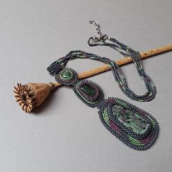 zoisyt,naszyjnik,zielony,haft koralikowy, - Naszyjniki - Biżuteria