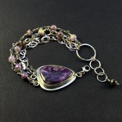 srebrna bransoletka z czaroitem - Bransoletki - Biżuteria