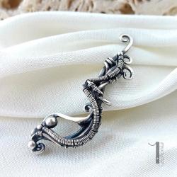 nausznica srebrna,wire wrapping,srebro - Kolczyki - Biżuteria