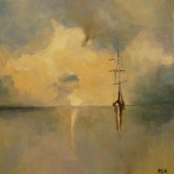 morze,łódź,akryl,obraz,szarość,niebieski - Obrazy - Wyposażenie wnętrz