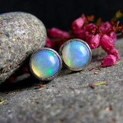 srebro,kolczyki,opal,sztyfty - Kolczyki - Biżuteria