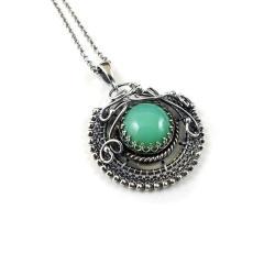 naszyjnik,wisiorek,chryzopraz,zielony,wrapping - Naszyjniki - Biżuteria