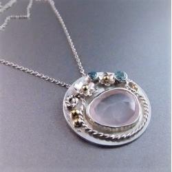 srebrny wisiorek,kwiatowy,unikat - Naszyjniki - Biżuteria