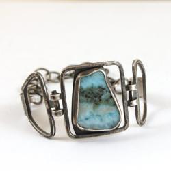 srebrna bransoleta z larimarem - Bransoletki - Biżuteria