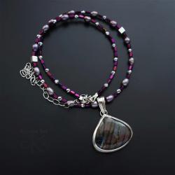 naszyjnik,z labradorytem,z perłami,delikatny - Naszyjniki - Biżuteria