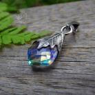 Wisiory deliaktny,srebrny,kwarc,tęczowy,srebrny liść