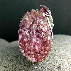 srebro,rubin,turmalin,pierścionek - Pierścionki - Biżuteria