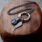 Naszyjniki romantyczny,morski niebieski,kianit,z piórkiem,
