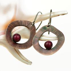 kolczyki miedziane,thulit,upominek - Kolczyki - Biżuteria