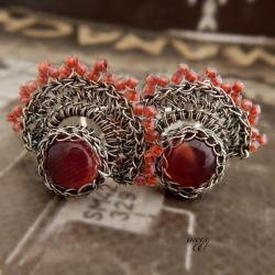 koronkowe klipsy z agatem - Klipsy - Biżuteria