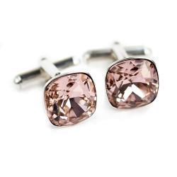 Spinki do mankietów z kryształami Vintage Rose - Dla mężczyzn - Biżuteria